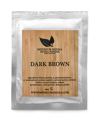 Dark Brown Re-Fill Package 10g. (Imperium Henna), LET OP: Langere levertijd